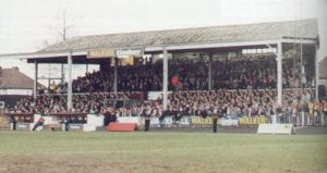 The old wooden Main Stand at Aggborough
