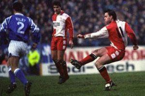 John Purdie scoring against Birmingham City in the FA Cup