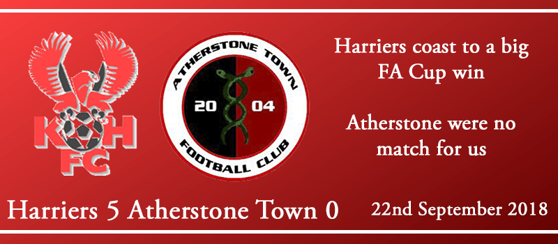 22-09-18 – Report – FA Cup 2nd Qual Rd – Kidderminster Harriers 5 Atherstone Town 0