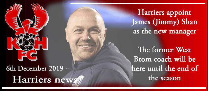 06-12-19 - News - Harriers appoint James (Jimmy) Shan as the new manager