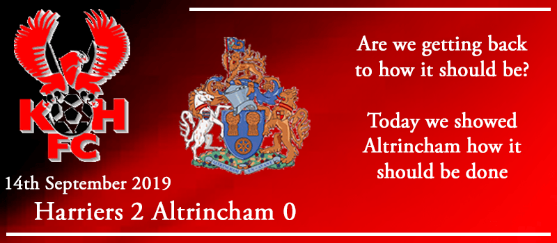 14-09-19 – Report – Kidderminster Harriers 2 Altrincham 0