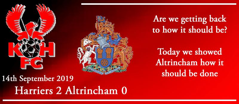 14-09-19 - Report - Kidderminster Harriers 2 Altrincham 0