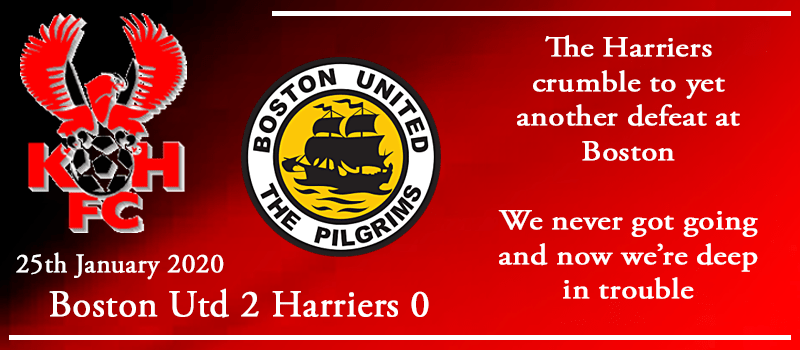 25-01-20 - Report - Boston Utd 2 Kidderminster Harriers 0