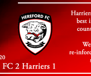 01-01-20 – Report – Hereford FC 2 Kidderminster Harriers 1