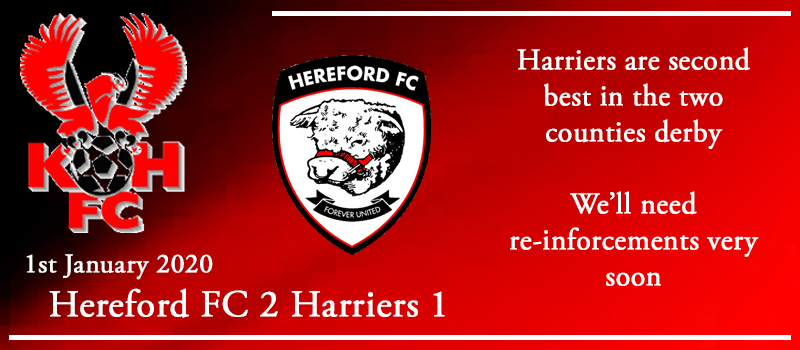 01-01-20 - Report - Hereford FC 2 Kidderminster Harriers 1