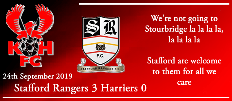 24-09-19 - Report - FA Cup 2nd Qual Rd replay - Stafford Rangers 3 Kidderminster Harriers 0