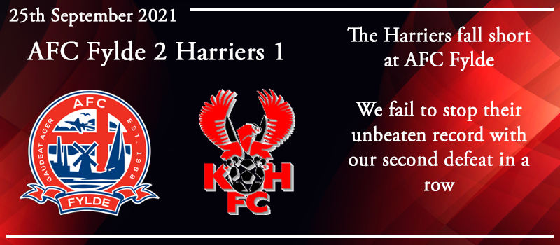 25-09-21 – Report – AFC Fylde 2 Kidderminster Harriers 1