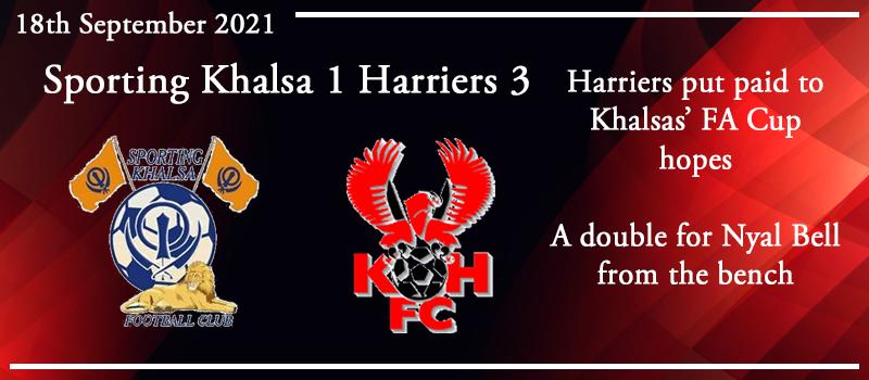 18-09-21 - Report - FA Cup 2nd Qual Rd - Sporting Khalsa 1 Kidderminster Harriers 3